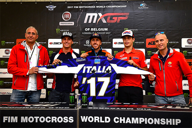 Antonio Cairoli, for the third year in a row HRC MX2's Michele Cervellin is part of Team Italy and he will race in MX2, rounding out the team will be Team Honda Redmoto Assomotor's Alessandro Lupino in the OPEN class.