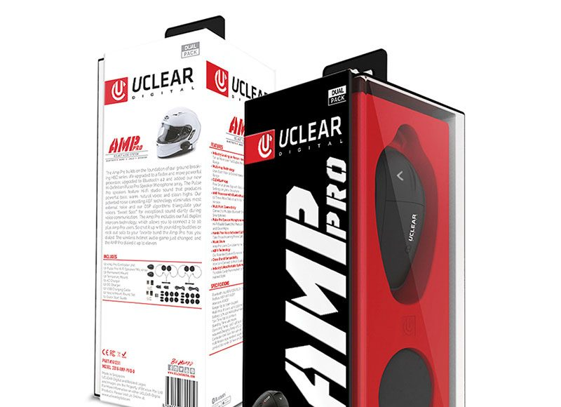Uclear Amp Pro Bluetooth Motorcycle Helmet Audio System - Dual Kit Box