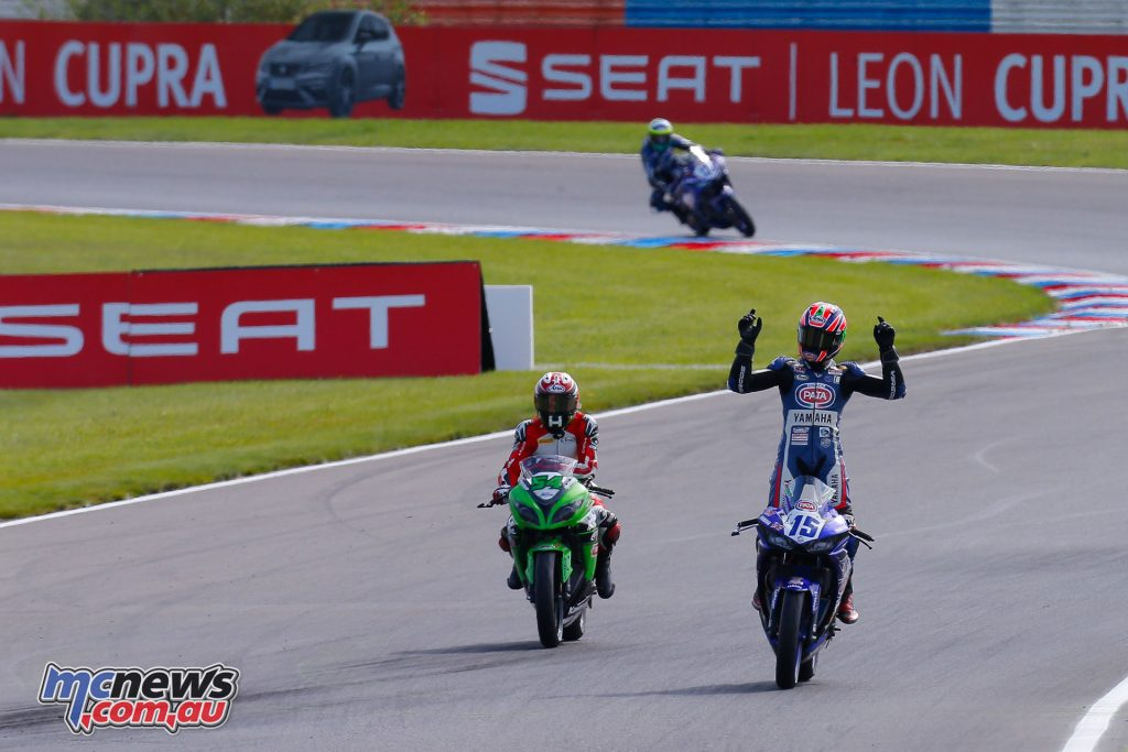 Coppla celebrates his victory at Lausitring