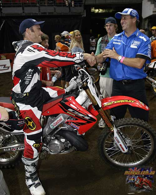 2004 Australian Supercross Nationals Championship - Sydney Superdome - Round One - Troy Dorron with Craig Dack
