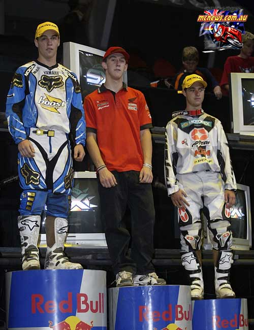 2004 Australian Supercross Nationals Championship - Sydney Superdome - Round One - Pro Lites Podium - 1. Daniel McCoy - 2.Bronte Holland - 3.Ryan Marmont