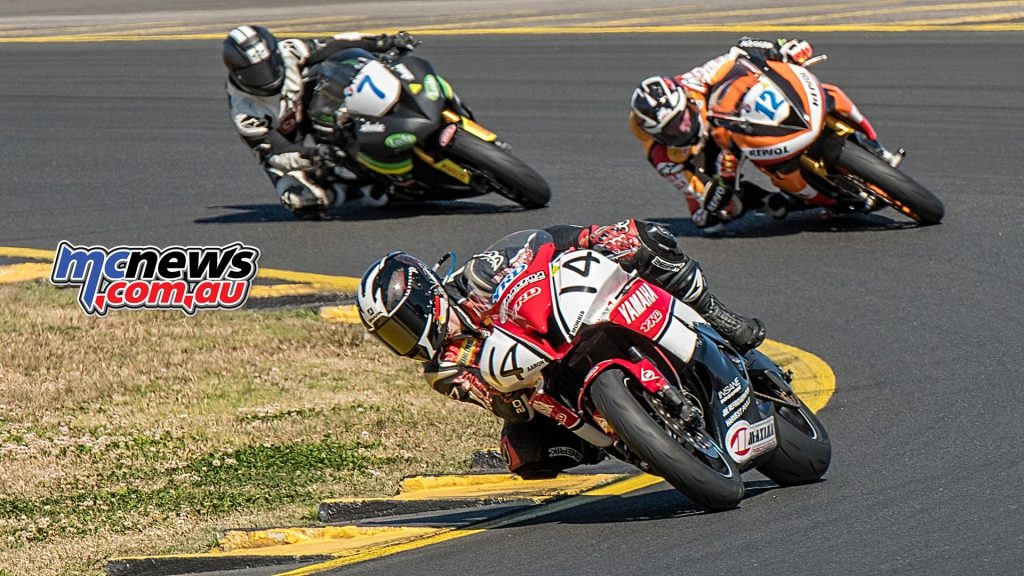 Motul Supersport Race One - SMP - Aaron Morris leads Mark Chiodo and Tom Toparis - Image by Half Light