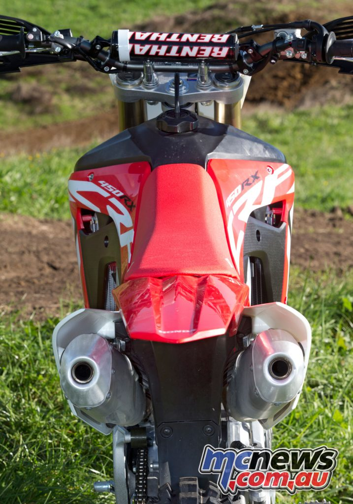 The ergonomics are ideal, and the rear flares around the dual mufflers, offering good grip