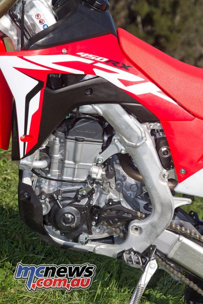 Honda CRF450RX - 449cc, liquid-cooled, four-stroke single, PGM-FI, 46mm throttle body