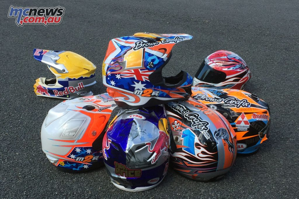 Over 40 helmets airbrushed by Mark Brown will be on display at the 2017 Sydney Motorcycle Show