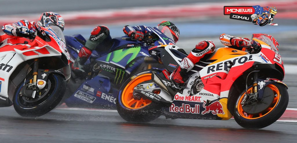 While nearly all competitors made the customary move to steel discs for the wet weather at Misano, Marquez opted to stick with the traditional carbon brakes used in dry weather competition.