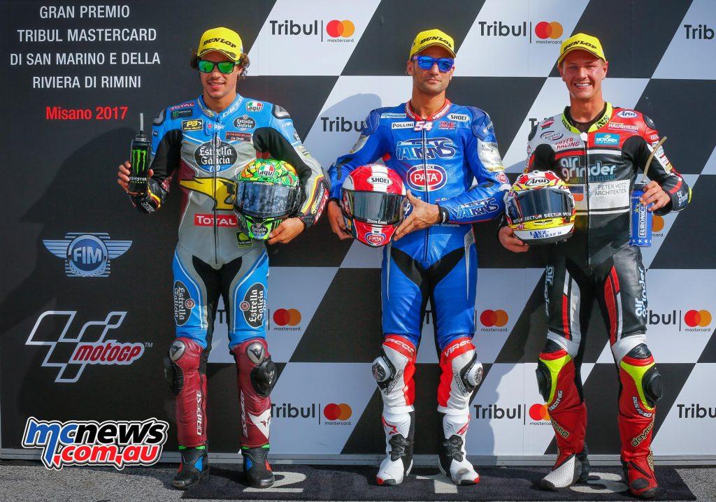 MotoGP 2017 - Round 13 - Misano - Qualifying Results - Moto2 Mattia Pasini (ITA - Kalex) 1:37.390 Franco Morbidelli (ITA - Kalex) +0.083 Domnique Aegerter (SWI - Suter) +0.333