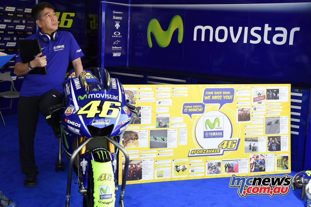 Valentino Rossi's M1 was a lonely sight at Misano