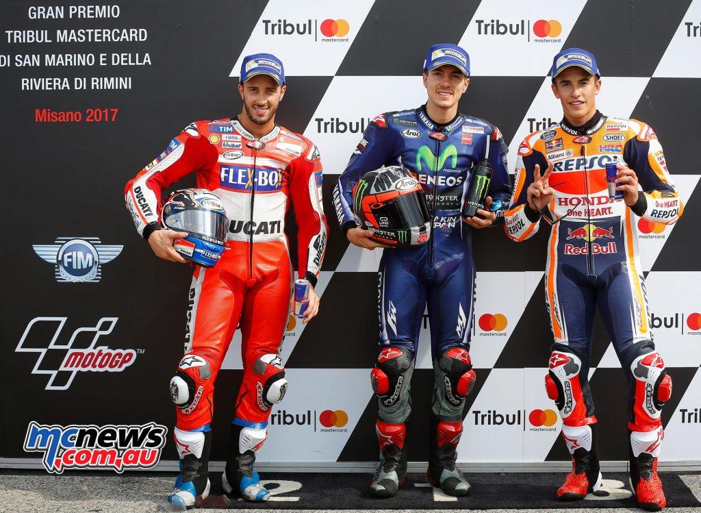 MotoGP 2017 - Round 13 - Misano - Qualifying Results VINALES Maverick 25 SPA Movistar Yamaha MotoGP Yamaha 1'32.439 DOVIZIOSO Andrea 4 ITA Ducati Team Ducati 0.162 MARQUEZ Marc 93 SPA Repsol Honda Team Honda 0.197