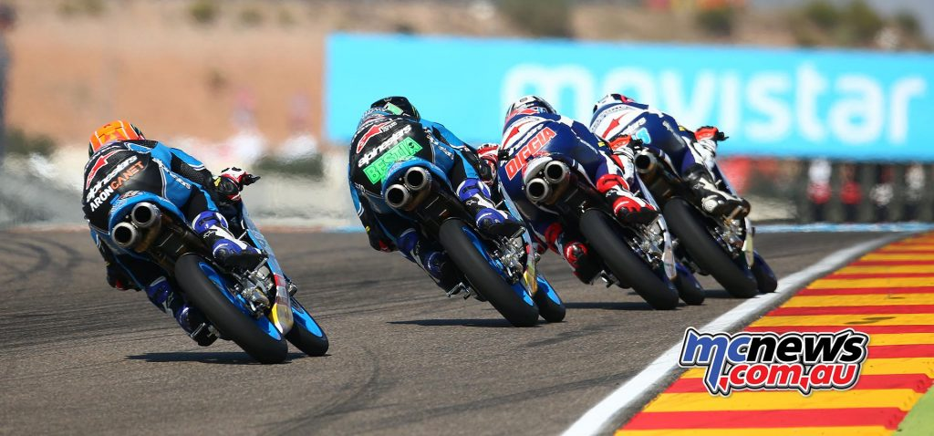 Moto3 Aragon 2017 - Image by AJRN - Aron Canet chases the leading trio