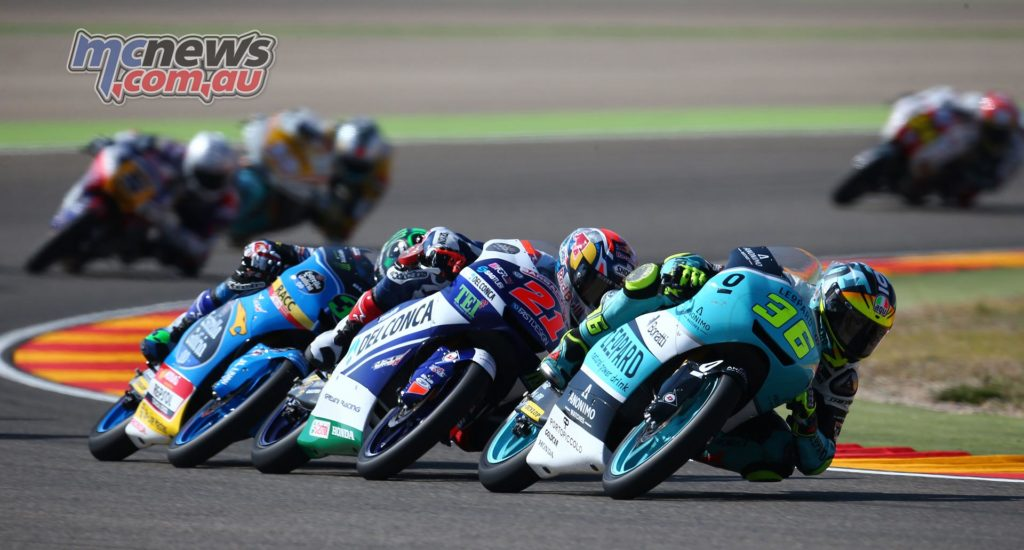 Moto3 Aragon 2017 - Image by AJRN - Joan Mir leads Fabio DiGiannantonio and Enea Bastianini