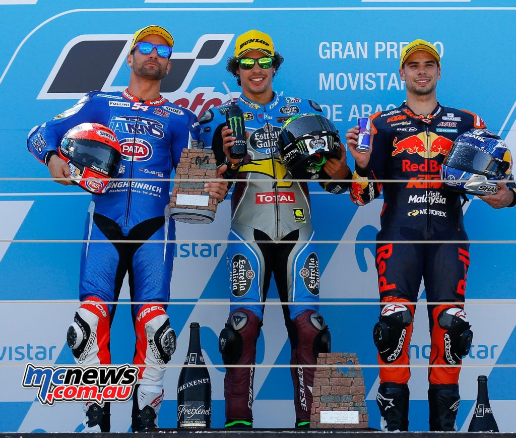 Aragon Moto2 Podium (L-R): Oliveira, Morbidelli, Pasini