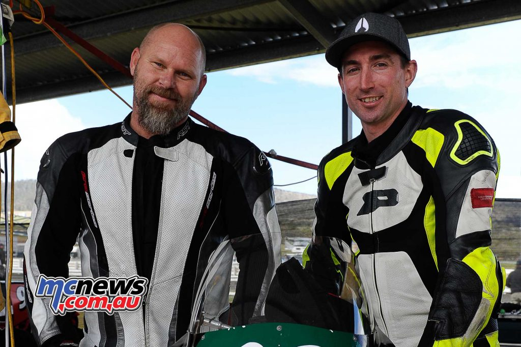 Dave McCullagh left and Brett Simmonds enjoyed some spirited racing