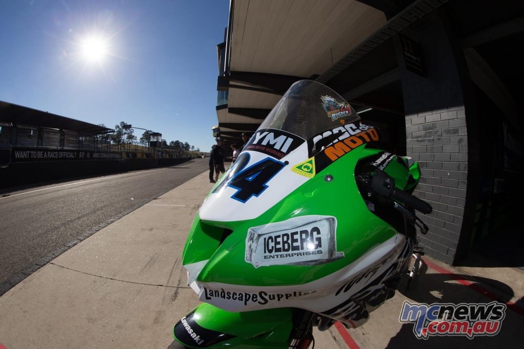 Robbie Bugden's BCperformance ZX-10R awaits the action at Sydney Motorsports Park this morning - Image by TBG