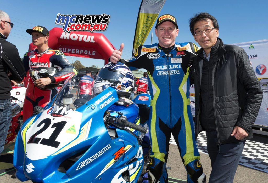 Josh Waters celebrates victory with new Suzuki Australia Managing Director Yoshiyuki Hakamata - Image by TBG