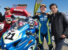 Josh Waters celebrates victory with new Suzuki Australia Managing Director Yoshiyuki Hakamata - Image by TBG
