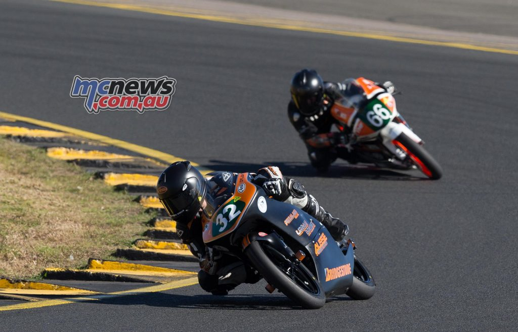 Dylan Whiteside leads Joel Kelso early on in the opening Moto3 / 125GP race at Sydney Motorsports Park - Image by TBG