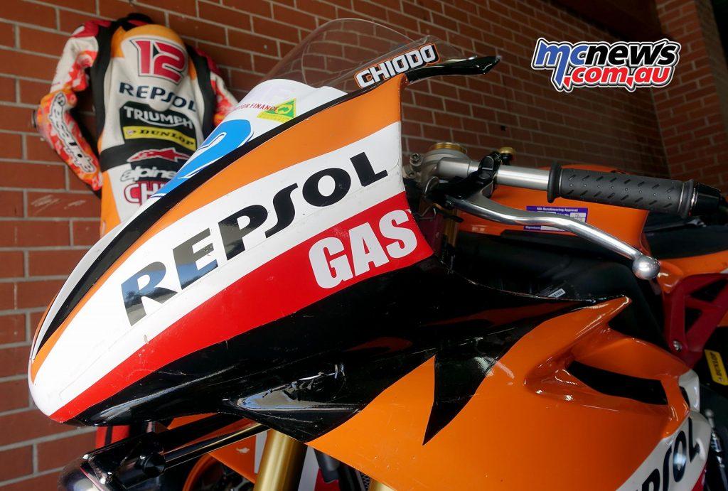 The Repsol Gas Triumph and Alpinestars leathers of Mark Chiodo