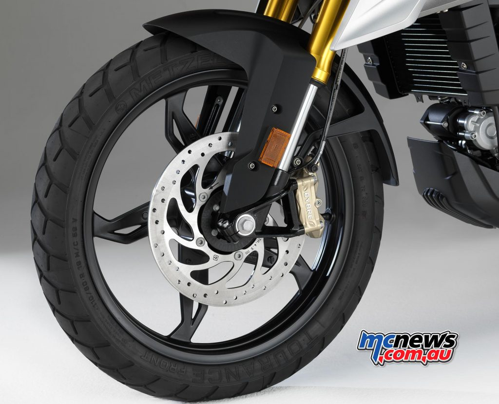 Wheels are 17in die-cast alloy offerings, with a single front disc and caliper combo, plus BMW ABS