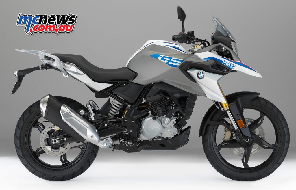 The BMW G 310 GS in Pearl White metallic