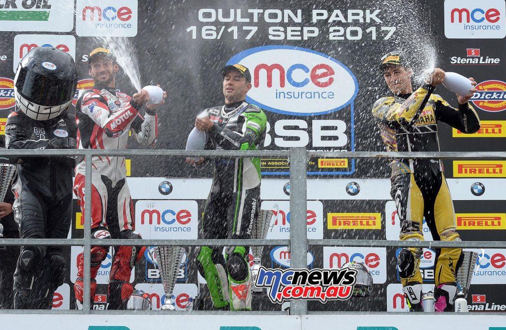 MCE Insurance British Superbike Championship, Oulton Park, Race 1 result Leon Haslam (JG Speedfit Kawasaki) John Hopkins (Moto Rapido Ducati) +0.314s Josh Brookes (Anvil Hire TAG Yamaha) +9.690s
