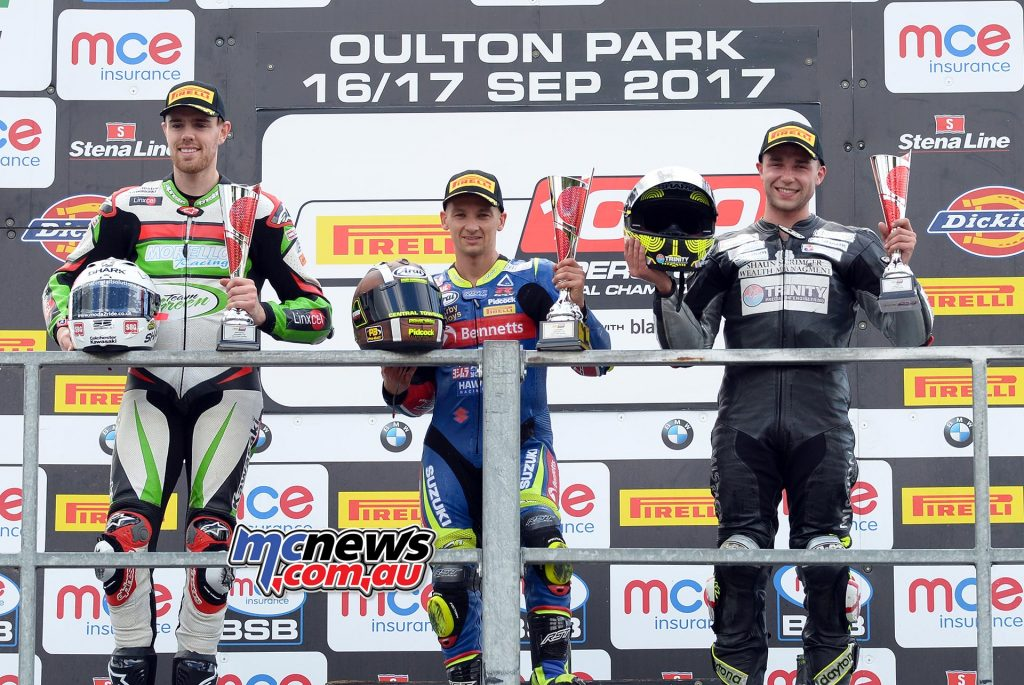 Pirelli National Superstock 1000 Championship race one (14 laps) Richard Cooper (Suzuki) Danny Buchan (Kawasaki) Chrissy Rouse (BMW)