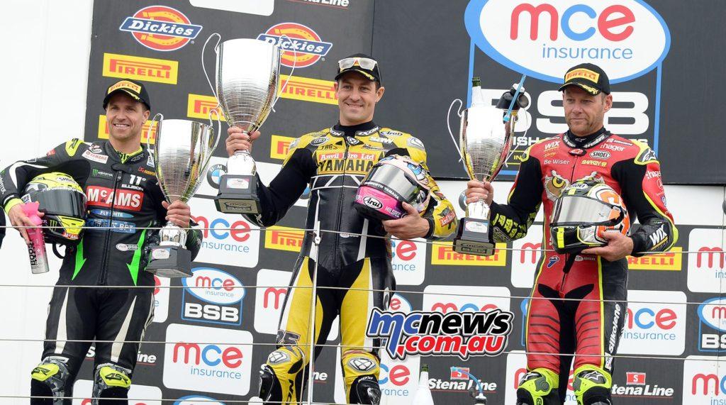MCE Insurance British Superbike Championship, Silverstone, race two result Josh Brookes (Anvil Hire TAG Yamaha) James Ellison (McAMS Yamaha) +0.274s Shane Byrne (Be Wiser Ducati) +0.732s