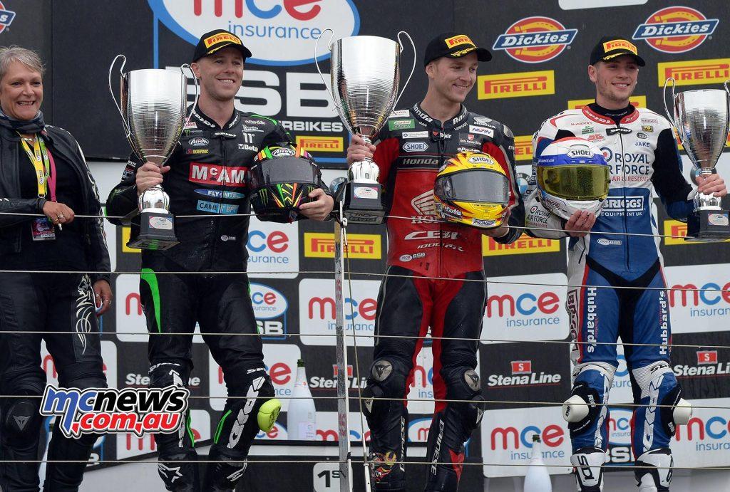 MCE Insurance British Superbike Championship, Silverstone, race three result Dan Linfoot (Honda Racing) Michael Laverty (McAMS Yamaha) +4.115s Jake Dixon (RAF Regular & Reserves Kawasaki) +20.423s
