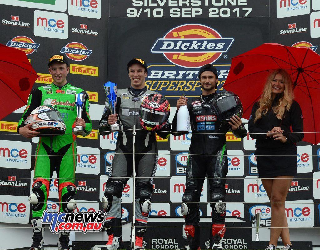 Dickies British Supersport Championship, Silverstone, Feature race Keith Farmer (Appleyard Macadam with Integro Yamaha) Andrew Irwin (Gearlink Kawasaki) +19.419s Arthur Sissis (McAMS Yamaha) +43.999