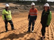Coalcliff site supervisor Steve Lilly, Premier Coal Projects engineer Darryn O'Brien and Collie Motorplex manager Anna Farrell looking over changes at the facility.