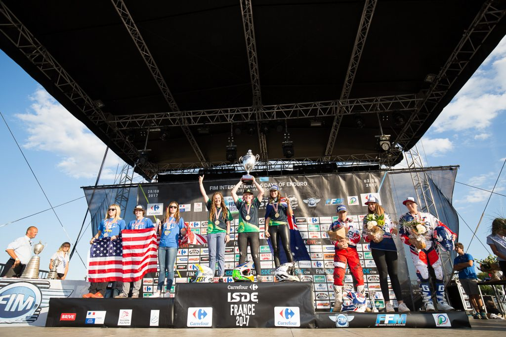 The Australian Women's ISDE team of Jones, Wilson and Gardiner took victory over the USA and France