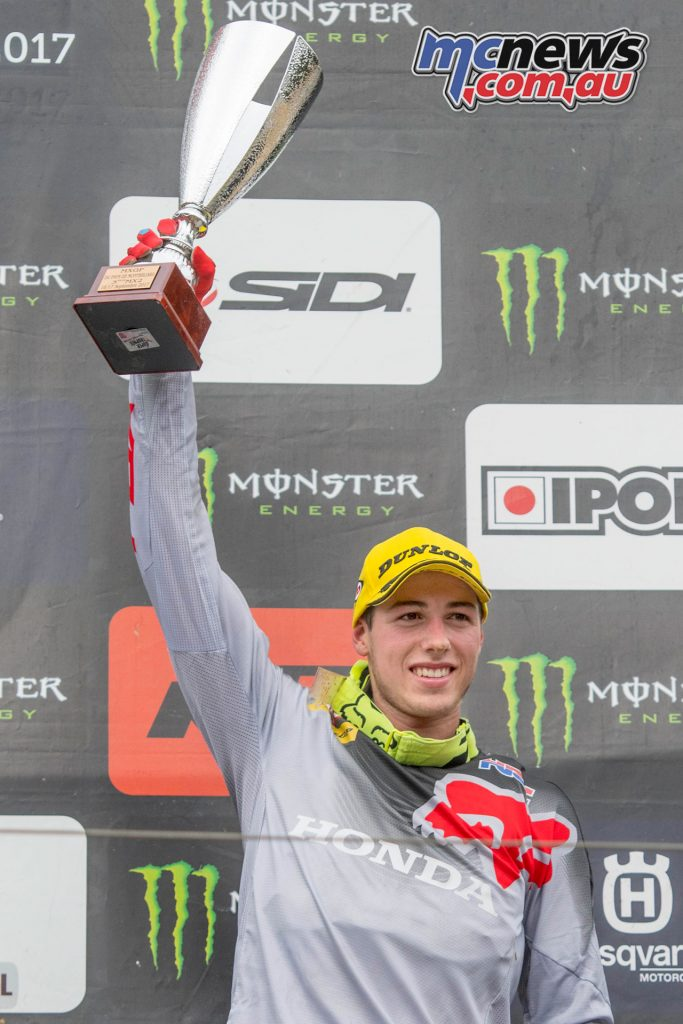 Jed Beaton on the MXGP podium in France last September
