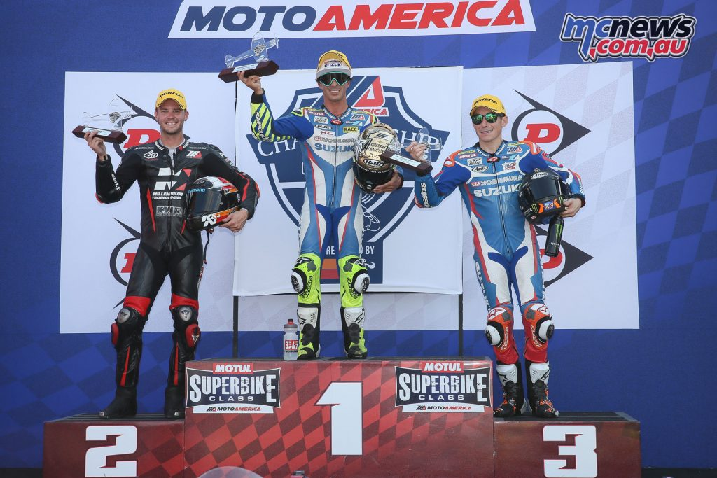 Toni Elias topped the Superbike Race 2 Podium