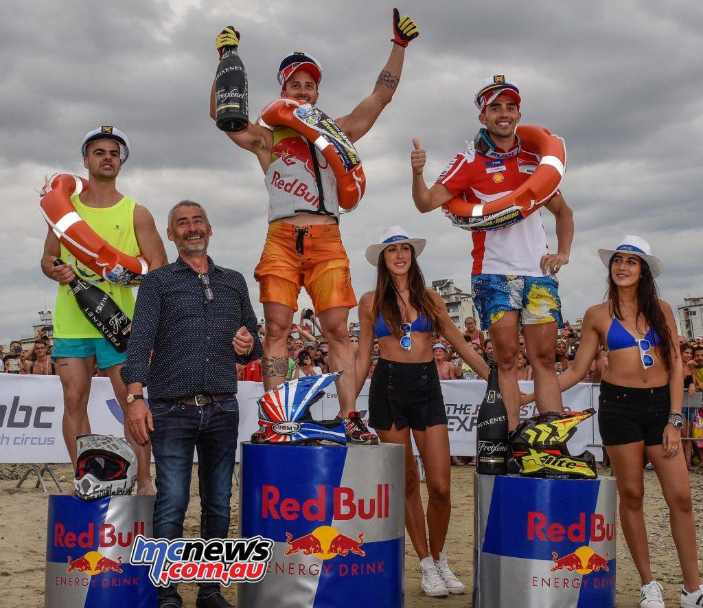The podium (L-R): Romano Fenati, Andrea Dovizioso and Michele Pirro