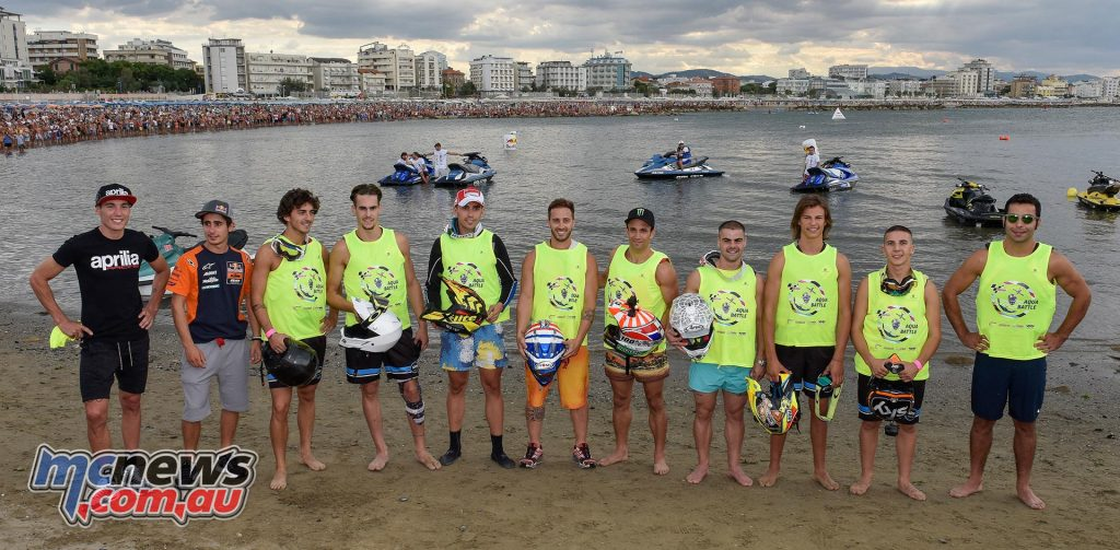 A motley but certainly fast cast and crew: the riders get ready to hit the waves