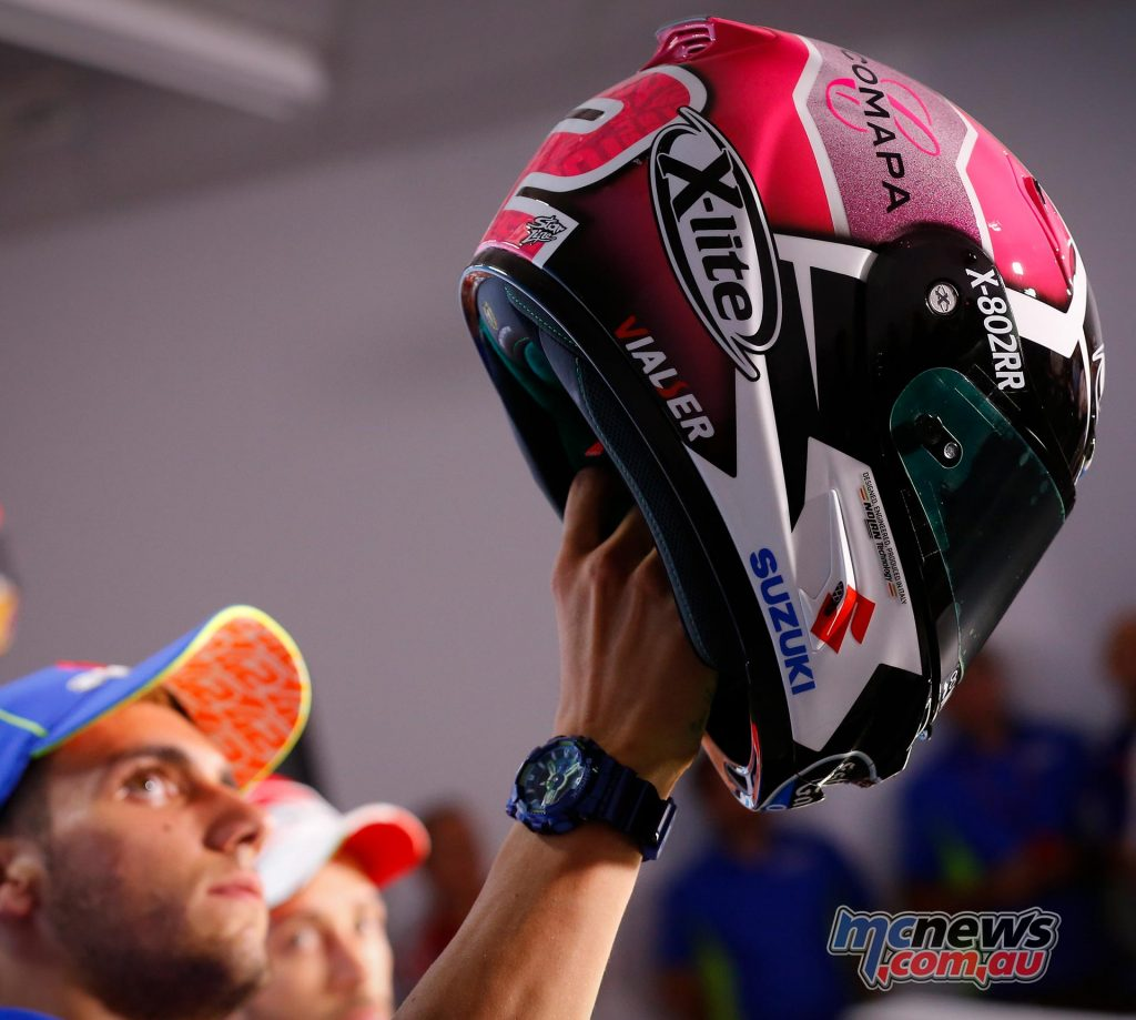 This weekend Alex Rins has special helmet, pink to raise awareness of breast cancer.