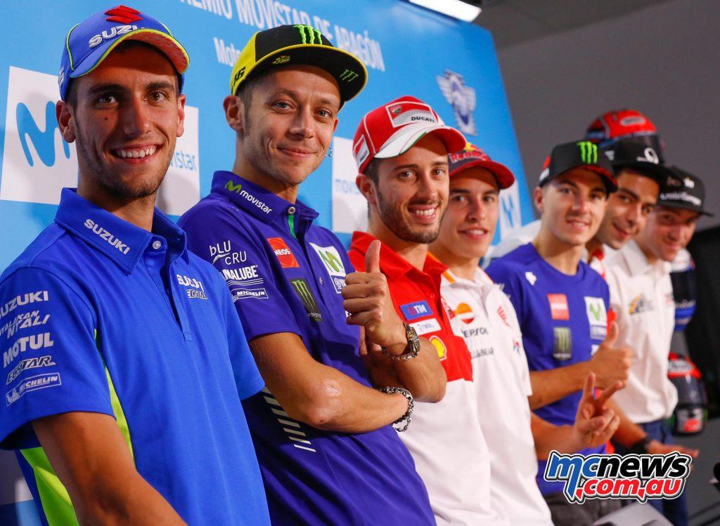 MotoGP 2017 - Round 14 - Aragon - L-R: Rins, Rossi, Dovizioso, Marquez, Viñales, Petrucci, Simeo