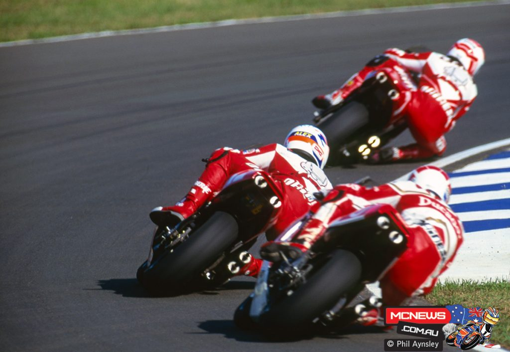Juan Garriga / Yamaha YZR500, Alex Crivillé / Honda NSR500, Eddie Lawson / Cagiva C592
