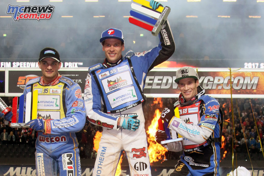 Zagar takes the top step of the podium at the Stockholm SGP, Zmarzlik second and Doyle third with 18-points