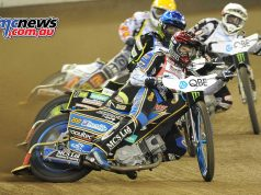 Jason Doyle leading heat one at the Melbourne FIM Speedway GP 2017 - Image by Colin Rosewarne
