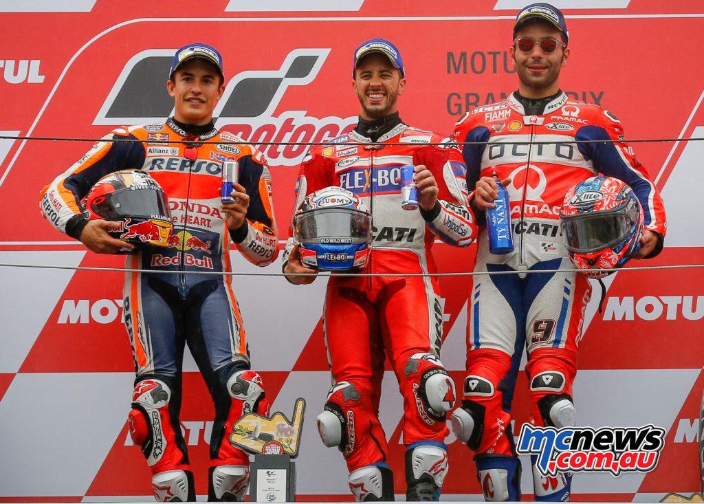 MotoGP 2017 - Round 15 - Motegi Race Results DOVIZIOSOAndrea 4 ITA 25 Ducati Team 47'14.236 MARQUEZMarc 93 SPA 20 Repsol Honda Team 0.249 PETRUCCIDanilo 9 ITA 16 Octo Pramac Racing 10.557
