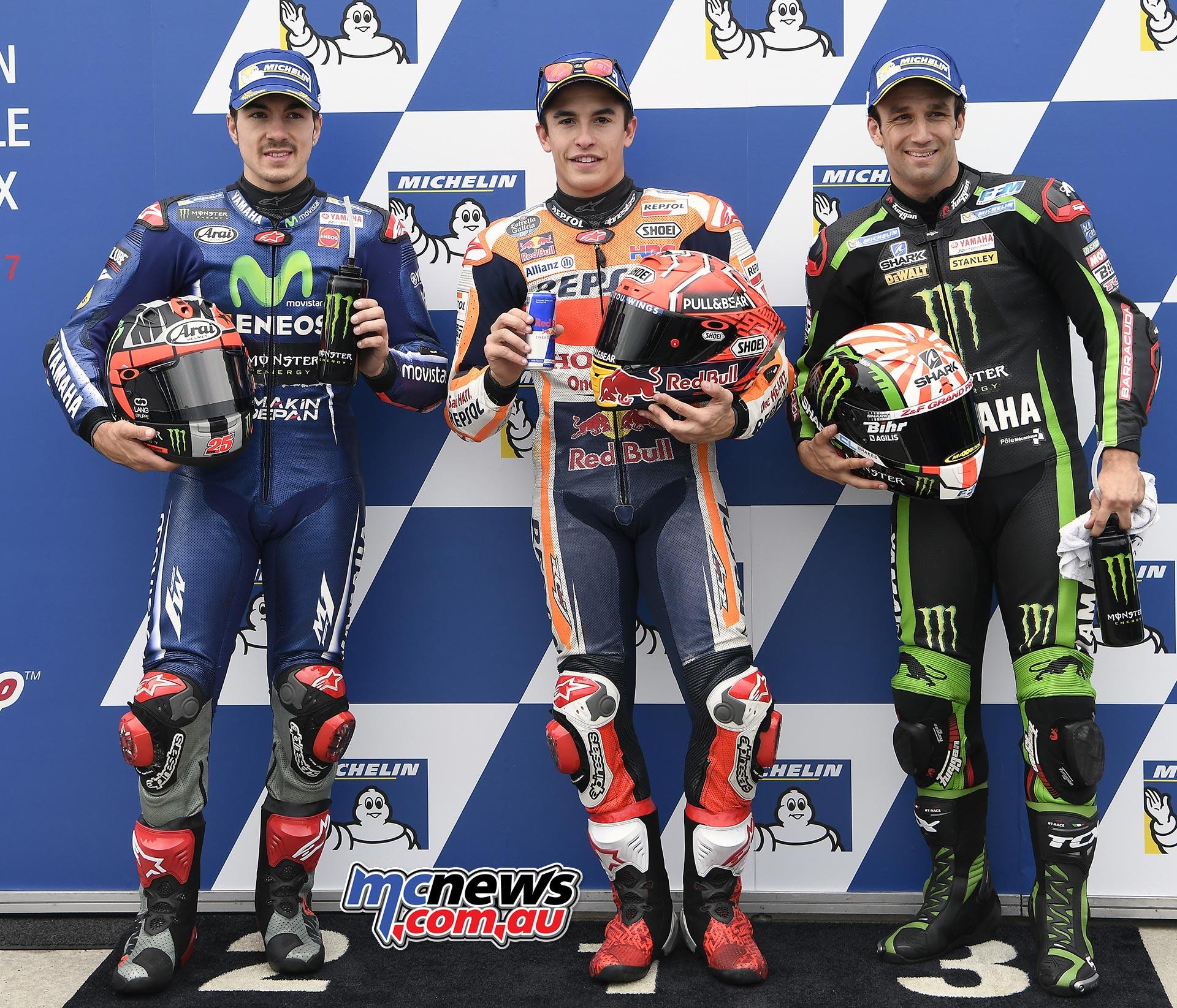Qualifying Results MARQUEZMarc 93 SPA Repsol Honda Team 1'28.386 VINALESMaverick 25 SPA Movistar Yamaha MotoGP 0.333 ZARCOJohann 5 FRA Monster Yamaha Tech 3 0.358