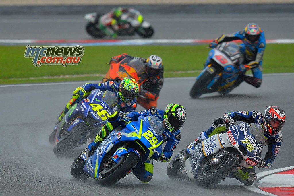 Andrea Iannone in the mix with Loris Baz and Valentino Rossi - Sepang MotoGP 2017