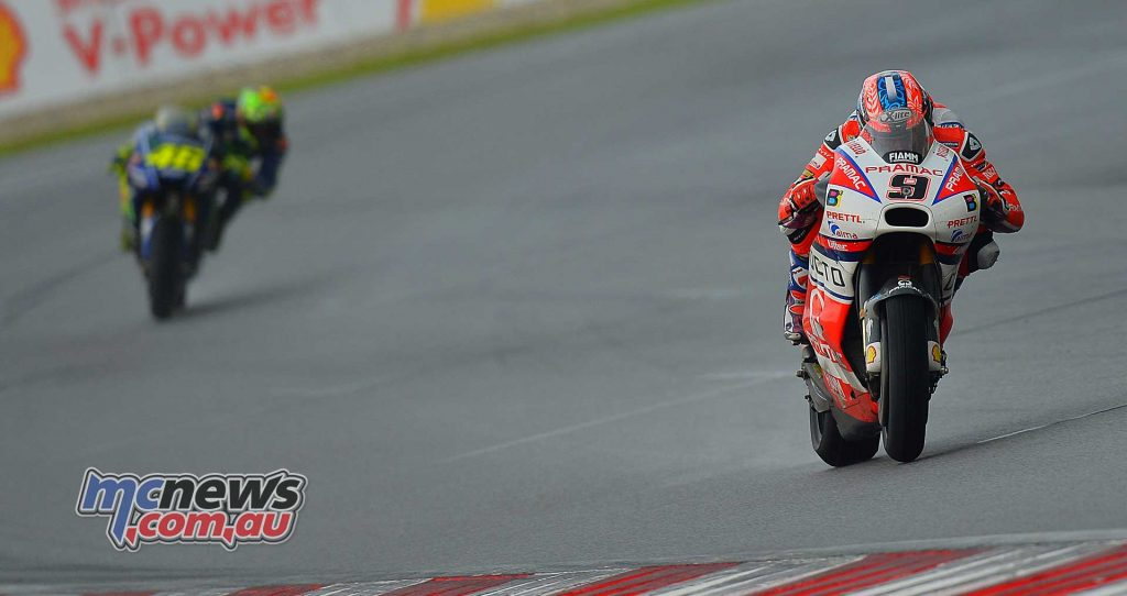 Danilo Petrucci came from behind to fight his way through the pack and made it three Ducati machines in the top six