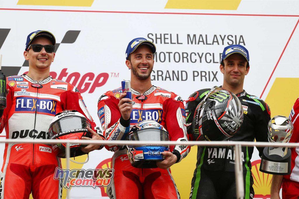 The podium: Lorenzo, Dovizioso & Zarco - Image By AJRN