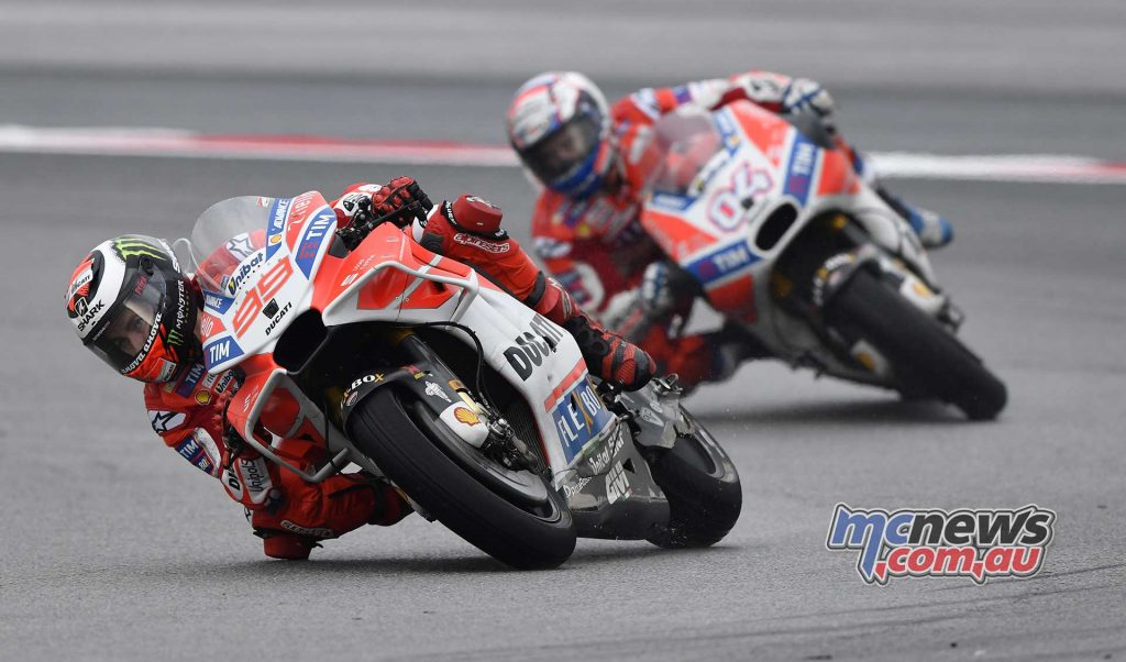 Andrea Dovizioso took his time in chasing down his teammate and it took a big slide from Lorenzo for the Italian to sweep past the Spanish #99