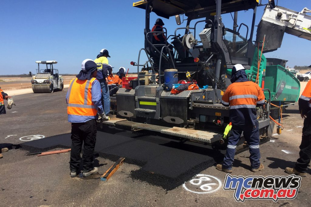 The laying of asphalt is a two stage affair, with a leveling course the first step