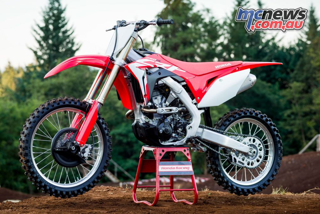 Honda's 2018 CRF250R - free MX Honda Racing Stand* on pre-order may differ from pictured.