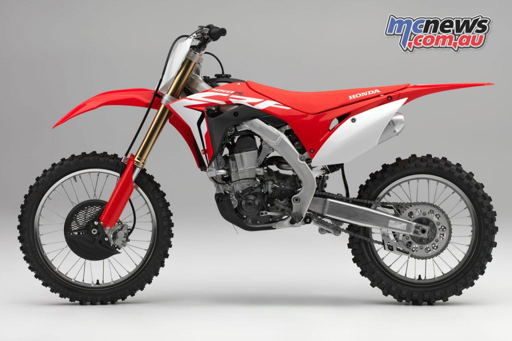 The CRF450R features minor improvements in 2018 following the full redesign of the 2017 model