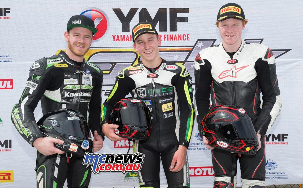 Supersport 300 Race One Results Oli Bayliss +0.184 - Kawasaki Yanni Shaw +14.244 - Kawasaki